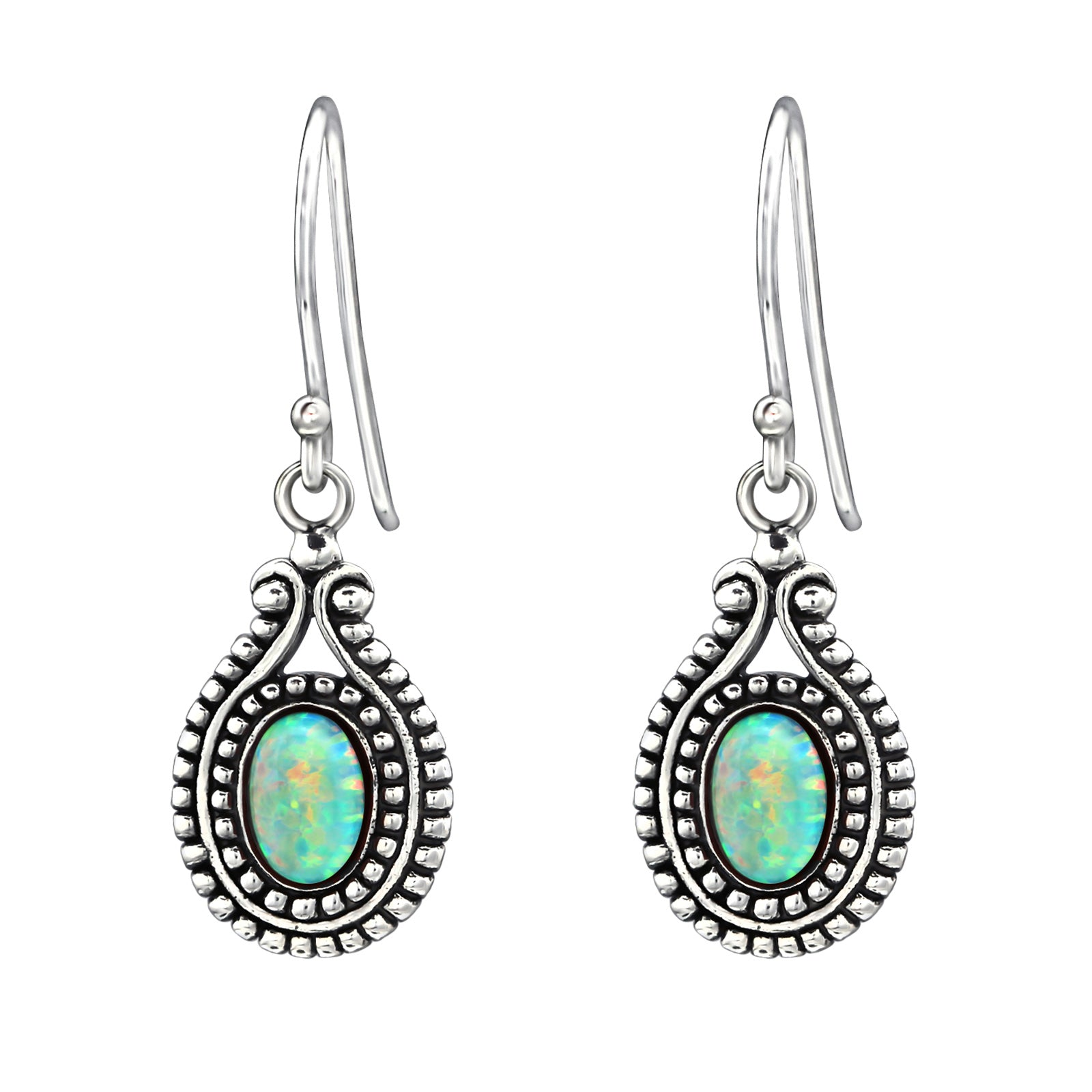 Sterling Silver Opal Drop Earrings.