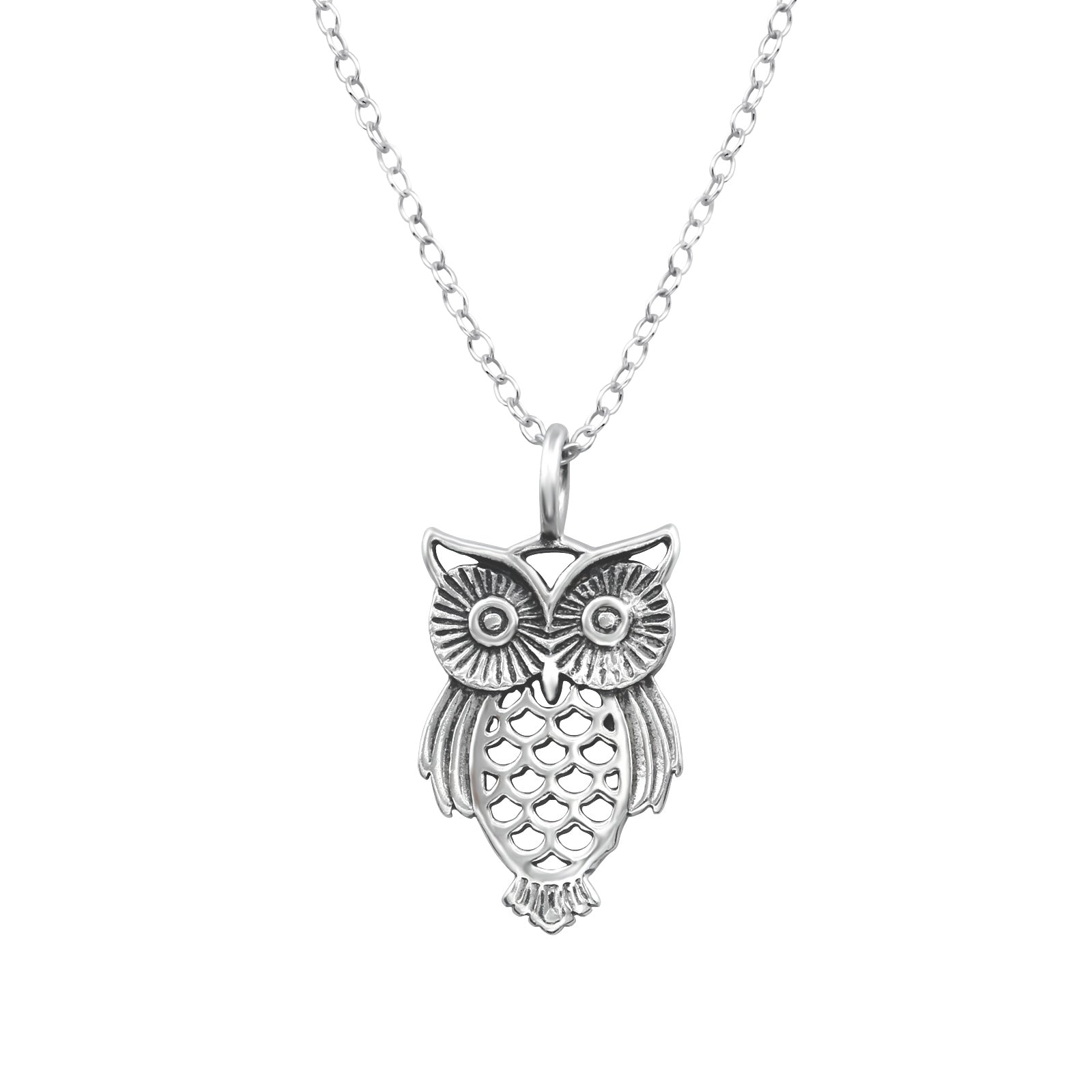 Sterling Silver Filligree Owl Necklace