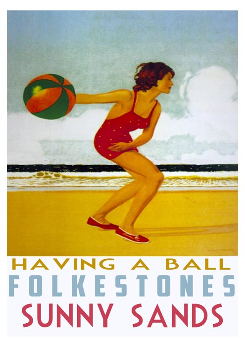 Having a Ball on Sunny Sands A3 Local Art Print