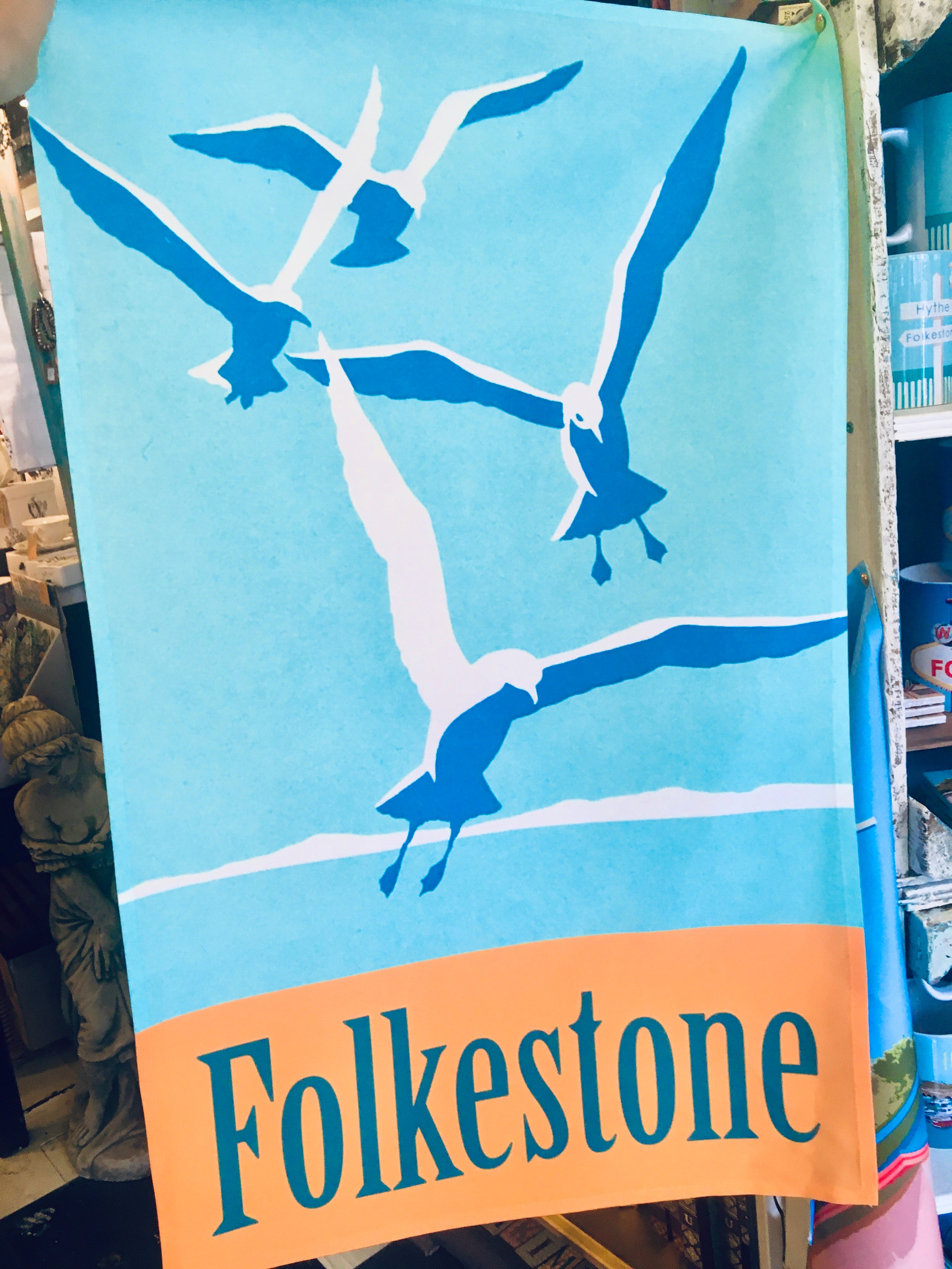 Folkestone Tea Towel - Flying Gulls