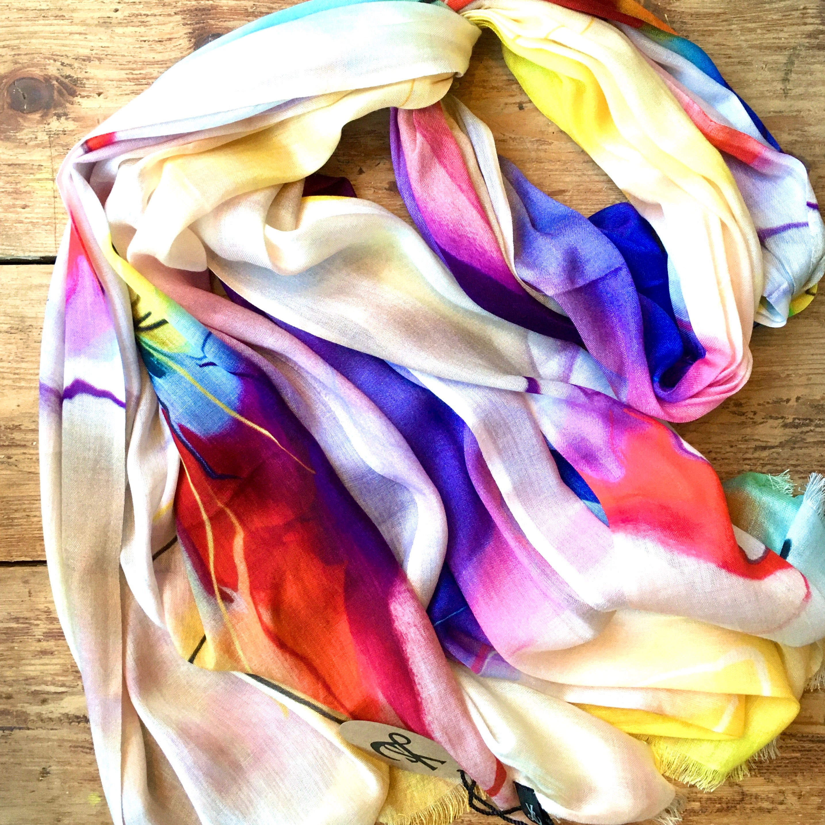 Handmade Natural Scarf with Cashmere - Flowers