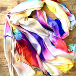 Load image into Gallery viewer, Handmade Natural Scarf with Cashmere - Flowers