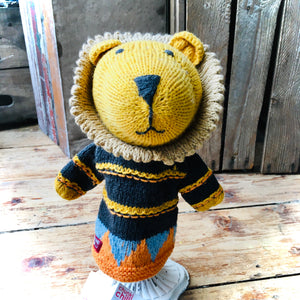 Lion Organic Cotton Knitted Hand Puppet