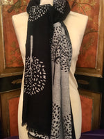 Load image into Gallery viewer, Reversible Winter Scarf Black/White Tree