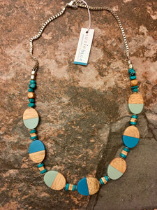 Wood & Resin Ovals Long Necklace