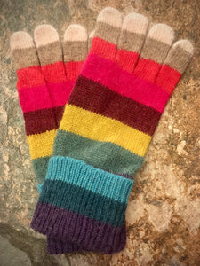Knitted Wool Stripey Gloves