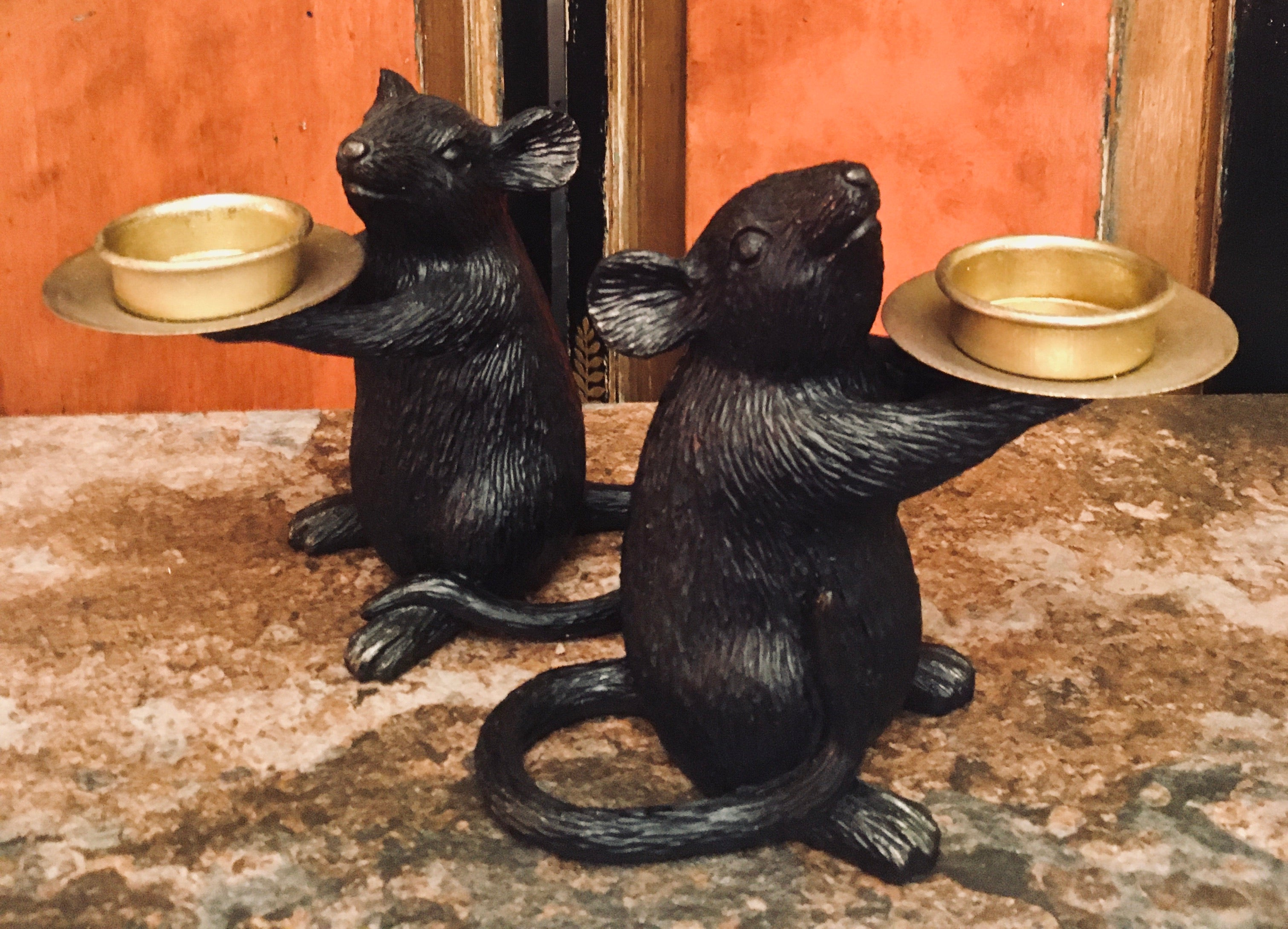 Black & Gold Mouse Candle Holder