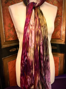 Handmade Natural Scarf with Cashmere - Sunset