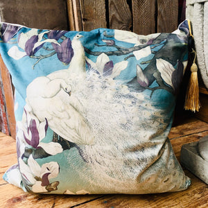 White Peacock Velvet Cushion