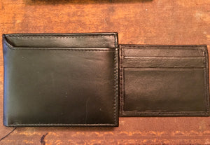 Men's Black Leather RFID Wallet with Separate Card Holder