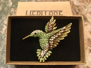 Heritage Brooch - Hummingbird Green or Blue