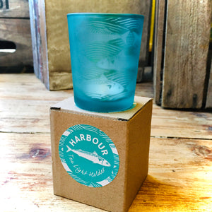 Harbour Teal Glass Fish Tea Light Holder