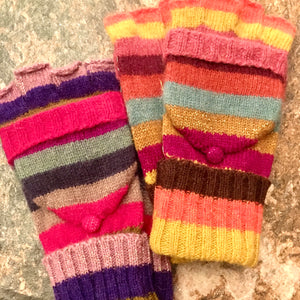 Knitted Wool Stripey Mittens