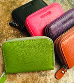 Load image into Gallery viewer, Genuine Leather Zipped RFID Card Purses