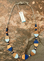 Load image into Gallery viewer, Wood & Resin Ovals Long Necklace