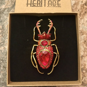 Heritage Large Brooch - Red Stag Beetle