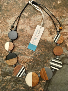 Wood & Resin Discs Necklace