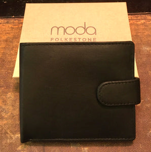 Men's Black Leather RFID Wallet with Tweed Interior