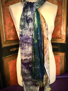 Handmade Natural Scarf with Cashmere - Reflections