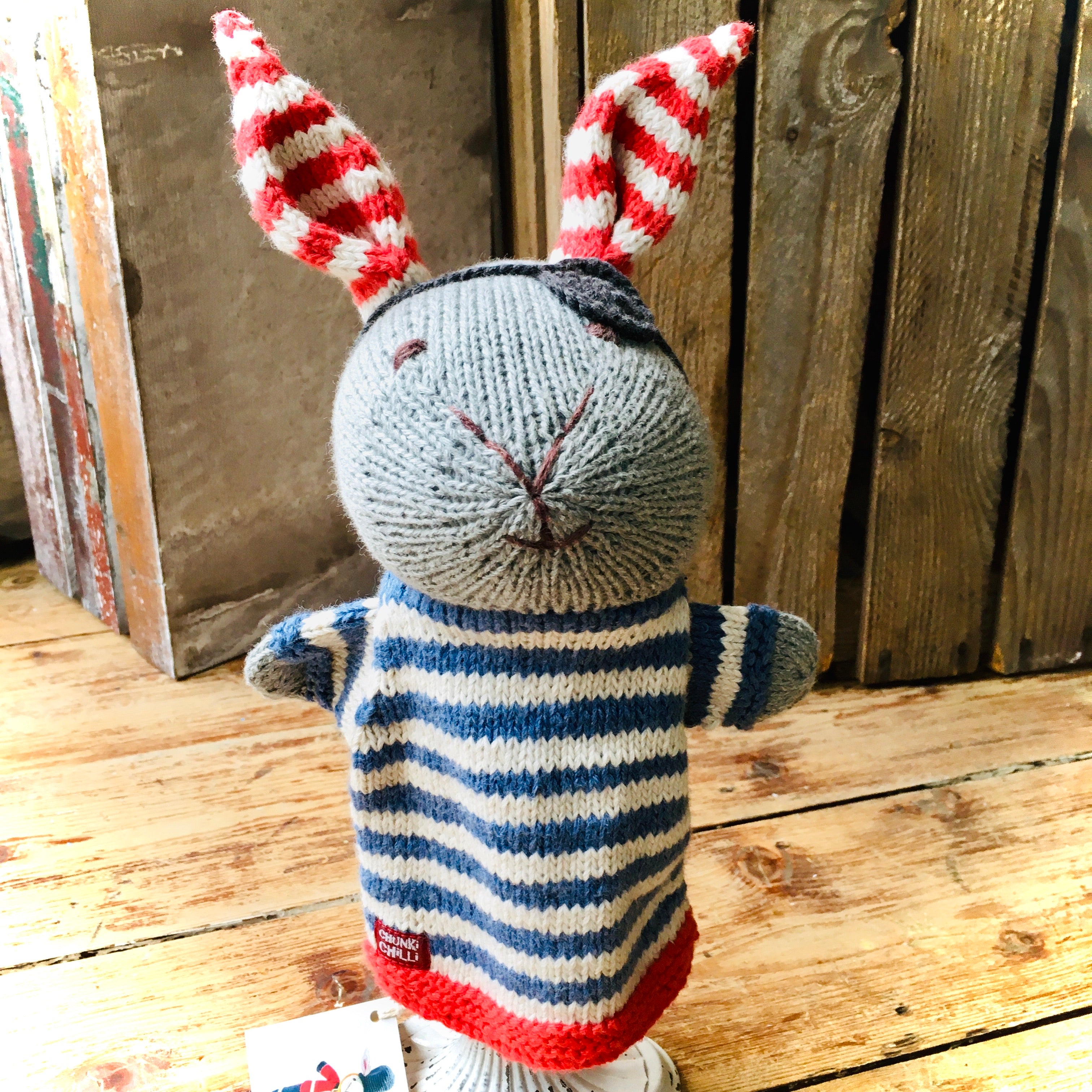 Pirate Rabbit Organic Cotton Knitted Hand Puppet