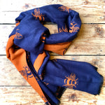 Load image into Gallery viewer, Reversible Winter Scarf Navy/Orange Bees