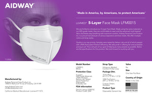 5-Layer Face Mask Made In USA - White (10) $2.49/Ea.