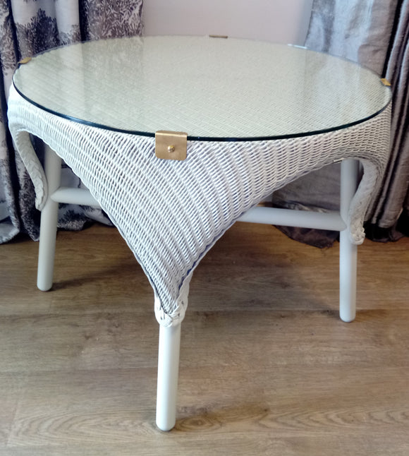 Refurbished Canterbury Side Table with Glass Top in chalk