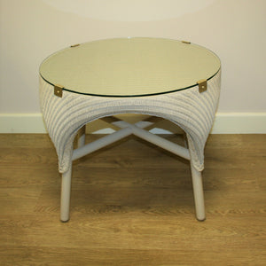 Canterbury lloyd loom side table with  glass top