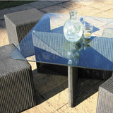 20% OFF RRP OUTDOOR LLOYD LOOM SPECIAL OFFER-  1 Cordoba Glass Top Coffee Table & 4 Seats (Mocha)
