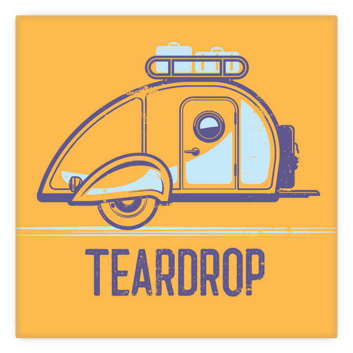 Metal Magnet — 2 inch by 2 inch — vintage teardrop trailer. Orange.
