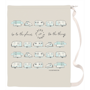 Laundry Bag — Places + Things, vintage trailers in light blue and dark grey.