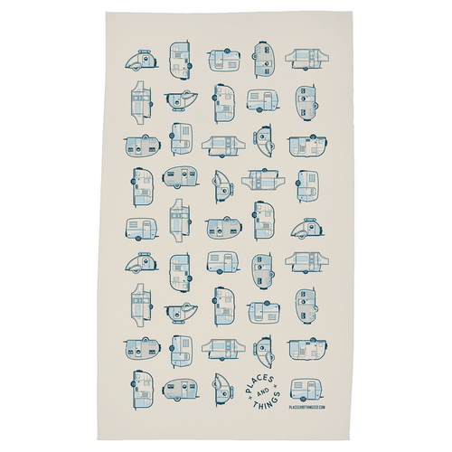 Tea Towel — Places + Things Grid — Blue