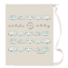 Load image into Gallery viewer, Laundry Bag — Places + Things, vintage trailers in light blue and dark grey.