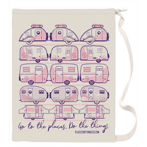 Laundry Bag — Trailer Grid — Vintage trailers, two-tone pink and purple