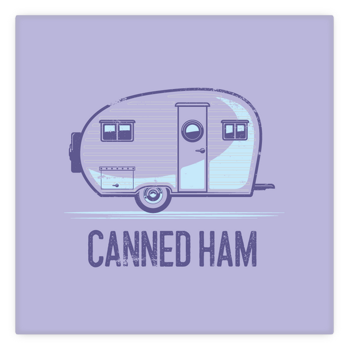 Metal Magnet — 2 inch by 2 inch — vintage Canned Ham trailer , purple