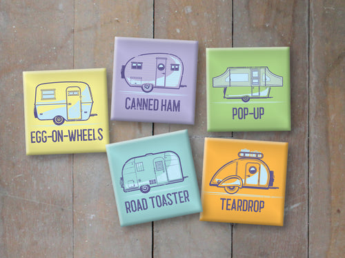 Metal Magnets, 2 inch by 2 inch, 5 different vintage trailers.
