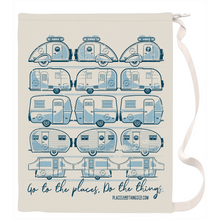Load image into Gallery viewer, Laundry Bag — Trailer Grid — Vintage trailers, two-tone Blue