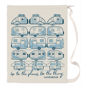 Laundry Bag — Trailer Grid — Vintage trailers, two-tone Blue