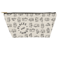 Load image into Gallery viewer, Small accessory pouch or toiletries bag. Vintage trailer pattern in dark grey.