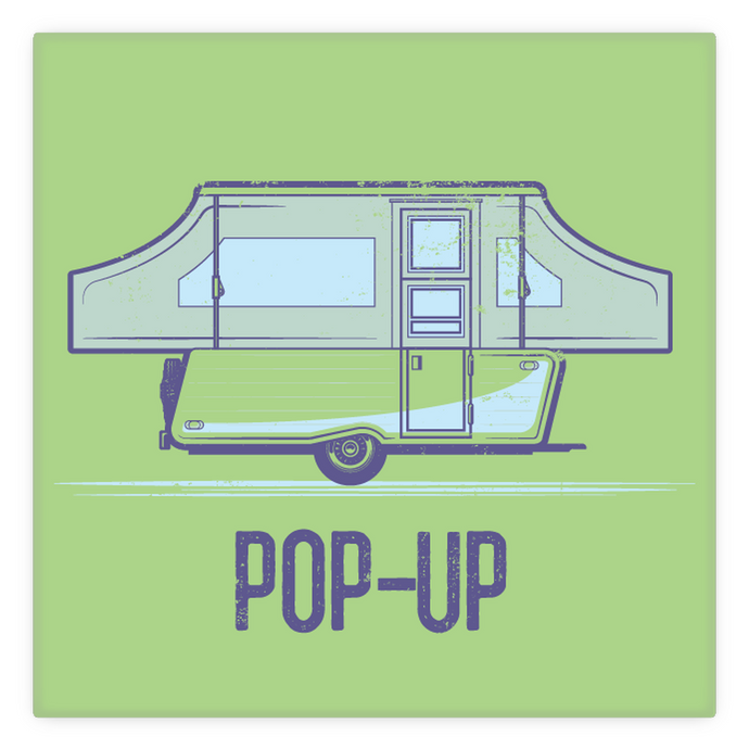 Metal Magnet — 2 inch by 2 inch — vintage pop-up trailer. Green.