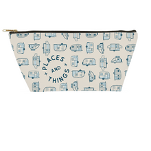 Load image into Gallery viewer, Small accessory pouch or toiletries bag. Vintage trailer pattern in blue.