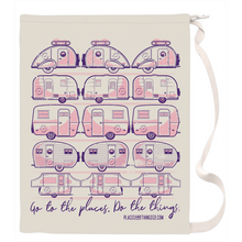 Load image into Gallery viewer, Laundry Bag — Trailer Grid — Vintage trailers, two-tone pink and purple