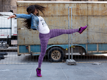 Load image into Gallery viewer, Happy woman dancing, wearing leggings for women, Vintage Trailers, two-tone purple