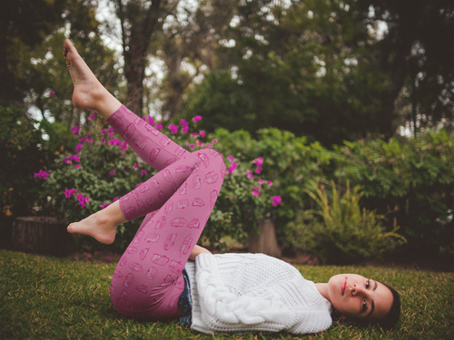 Woman lying on grass outdoors wearing leggings for women — Vintage Trailer Grid — Two-tone pink
