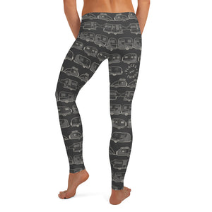 Leggings for women — Vintage Trailer Grid — Two-tone dark grey, back view