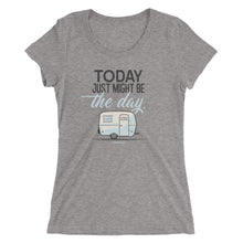 Load image into Gallery viewer, Women's retro t-shirt, vintage Boler trailer. Today Just Might Be The Day. Medium grey triblend.