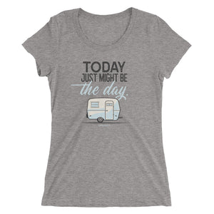 Women's retro t-shirt, vintage Boler trailer. Today Just Might Be The Day. Medium grey triblend.