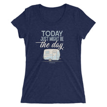Load image into Gallery viewer, Women's retro t-shirt, vintage Boler trailer. Today Just Might Be The Day. Dark blue triblend.