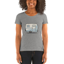 Load image into Gallery viewer, Woman wearing T-shirt featuring a vintage Boler trailer design.