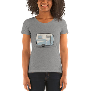 Woman wearing T-shirt featuring a vintage Boler trailer design.